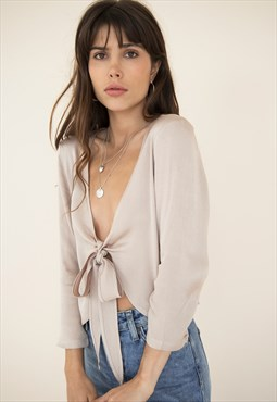 Arietta Velvet Front Wrap Blouse-Muted Blush $49.85
