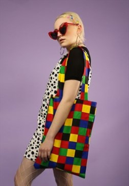 Rainbow Checkerboard Tote Bag $11.09